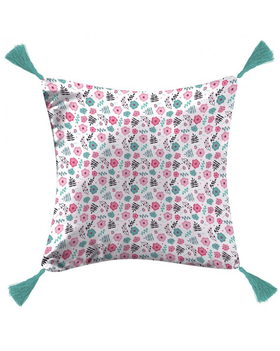 Coussin pompons 40x40 Pink Liberty