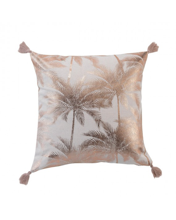 Coussin pompons 40x40 cm Palmy Shine or rose