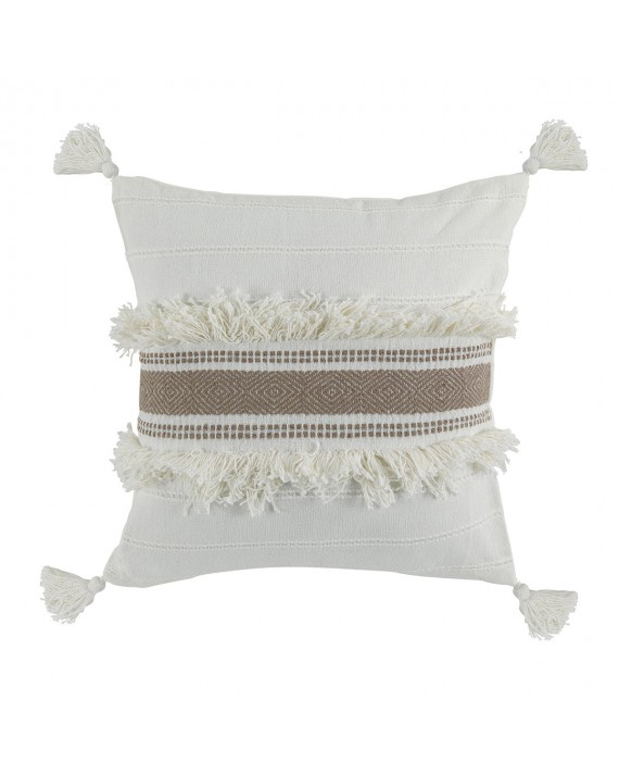 Coussin pompons 40x40 cm Indira taupe