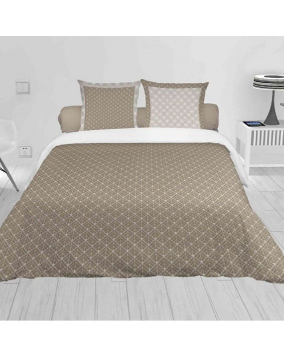 Housse de couette 220x240 Lorenzo taupe + 2 taies 100% coton 57 fils