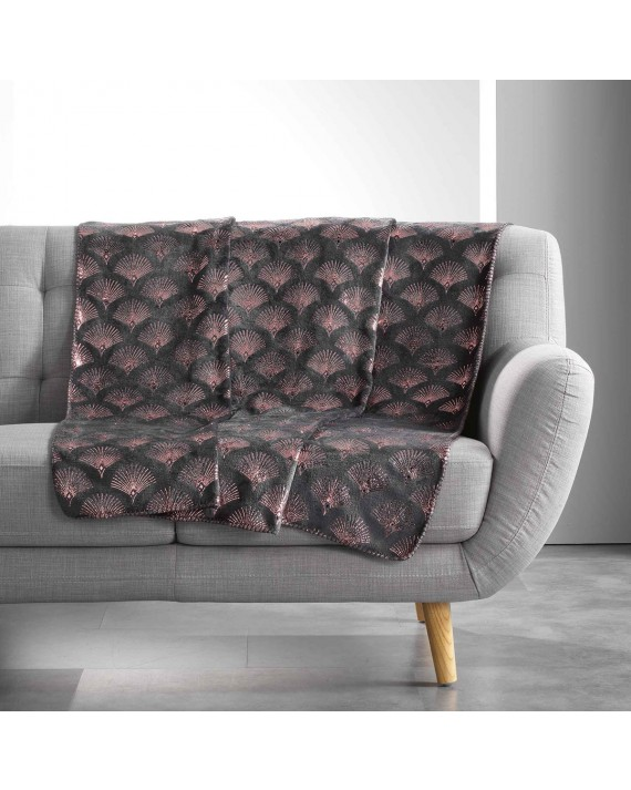 Plaid 125x150 cm Coral Metal Goldy anthracite or rose