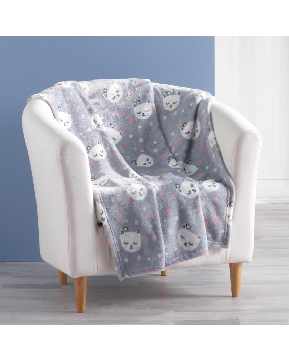 Plaid 125x150 cm flanelle Mimi chat