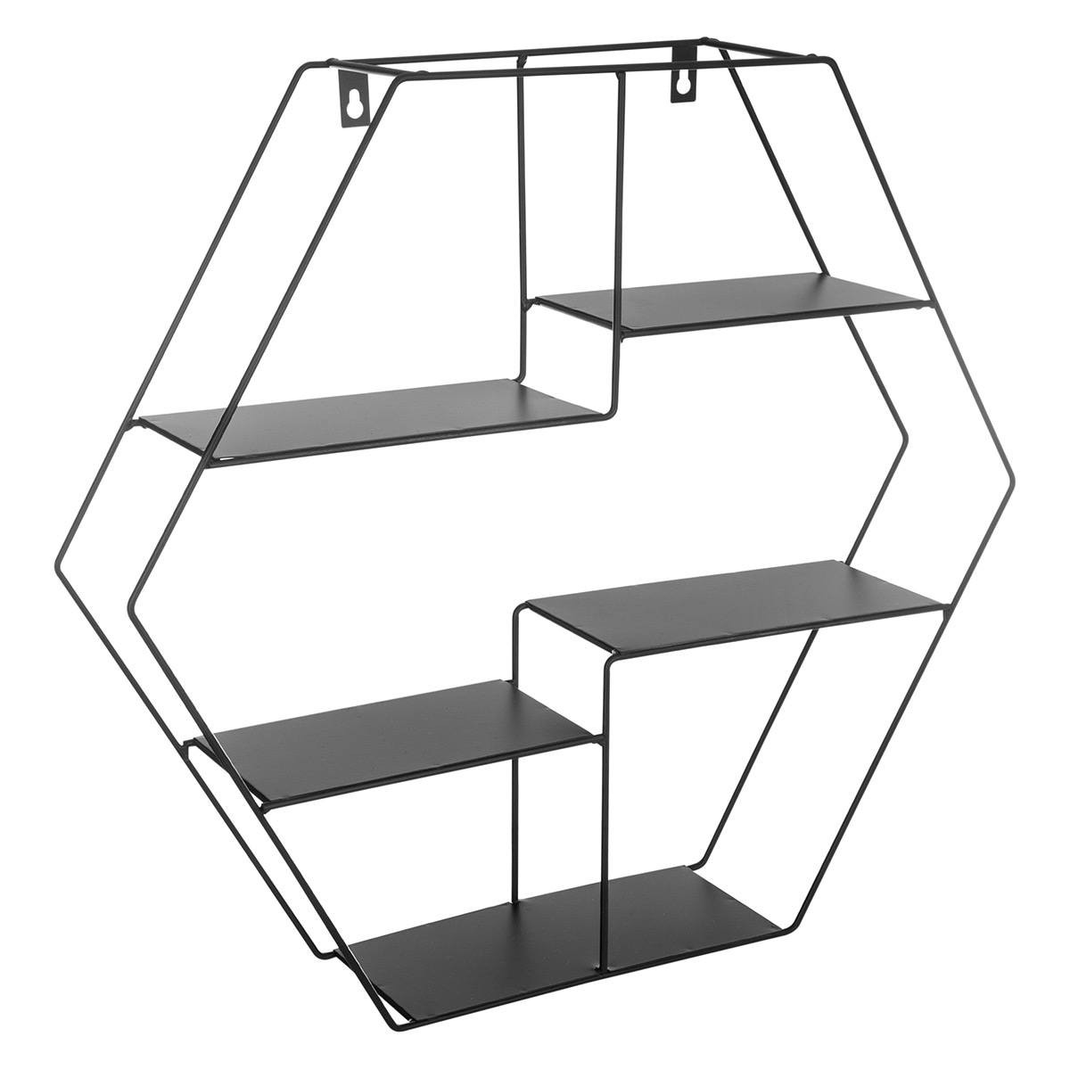 Tag re murale en m tal hexagonale noir for Etagere murale aluminium