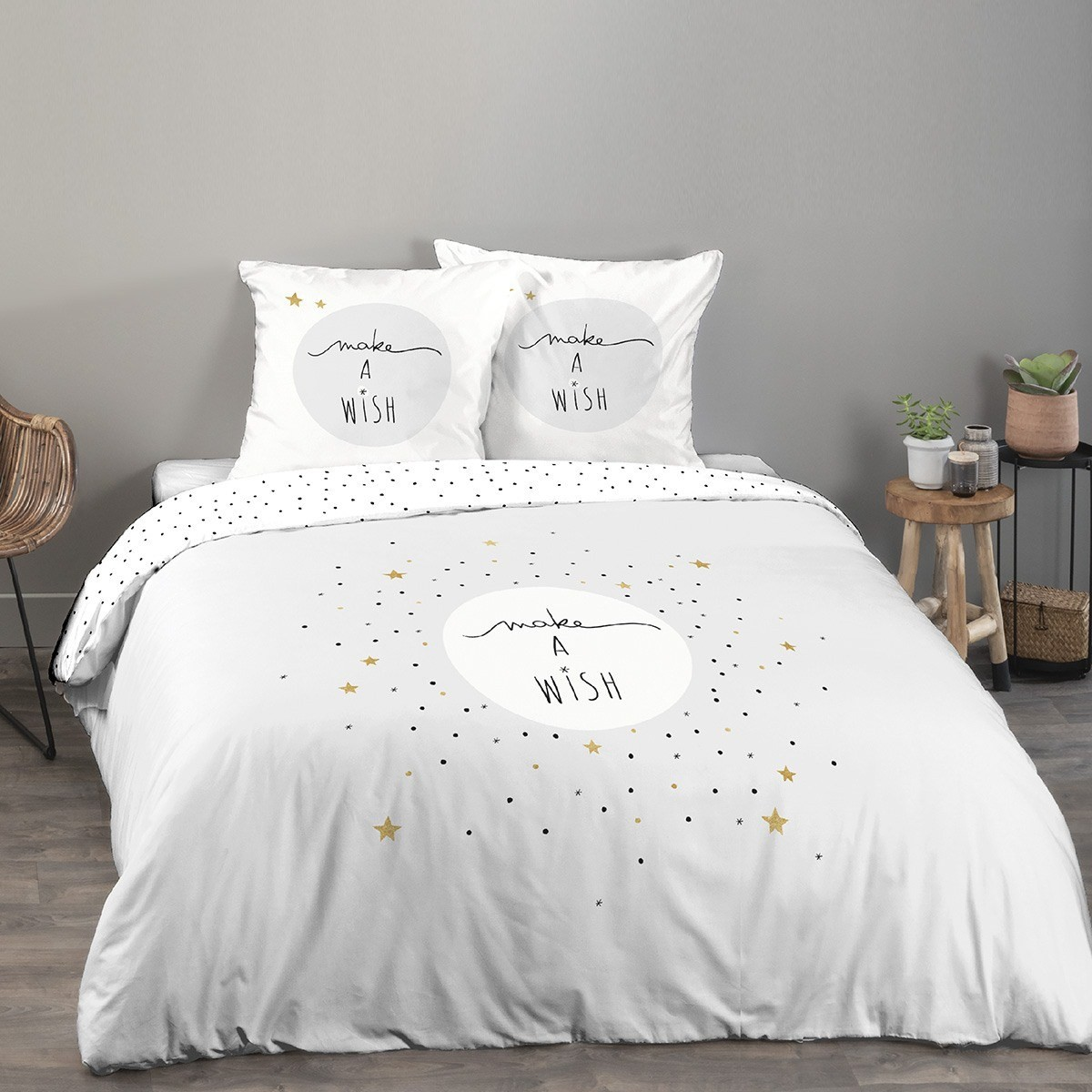Housse de couette 220x240 Make a wish gris