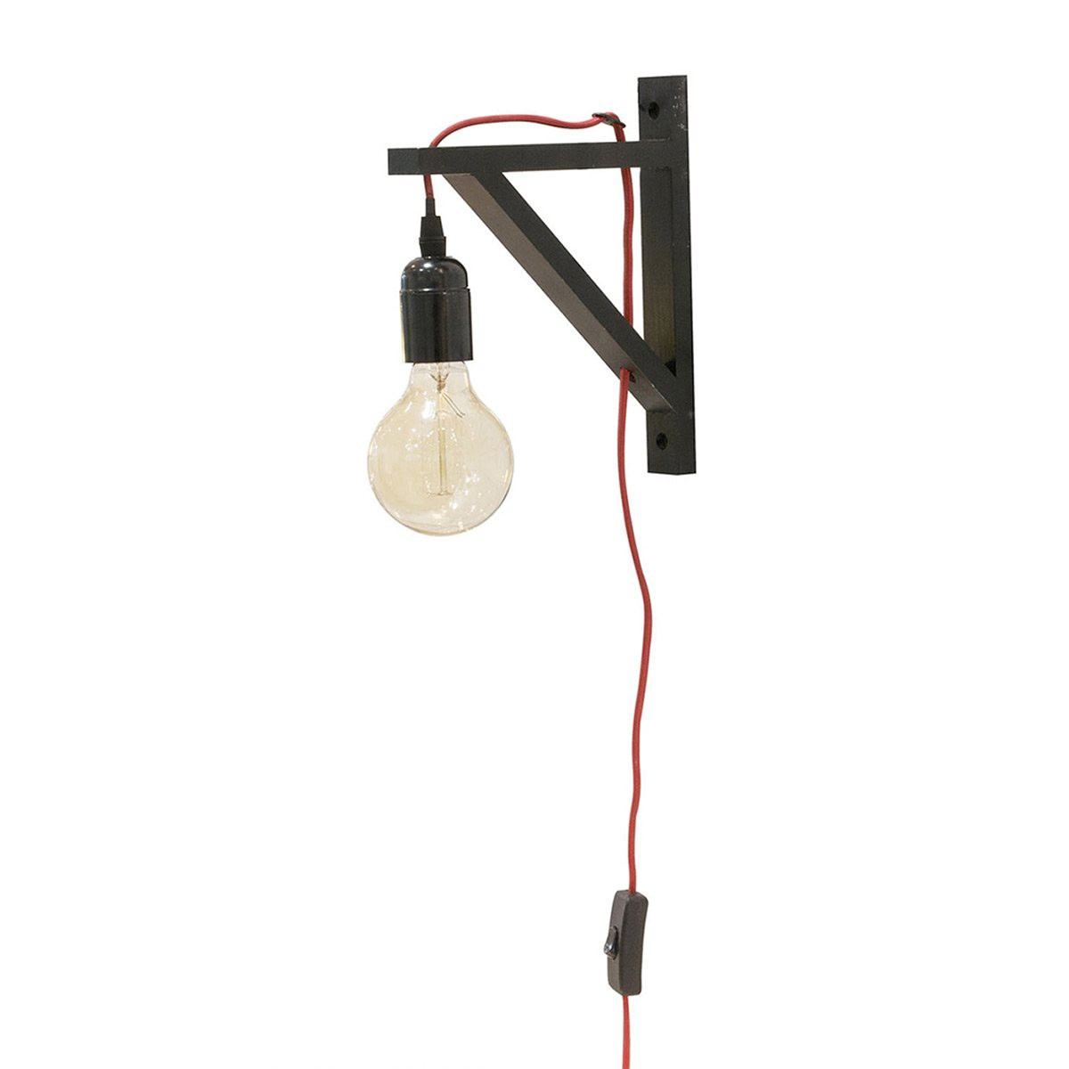 Lampe Murale Suspension Noire Câble Rouge Decoratiefr