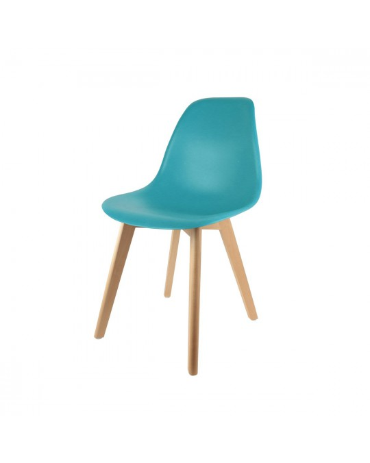 Chaise scandinave coque bleue canard