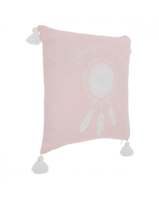 Coussin 4 pompons rose 40 x 40 cm