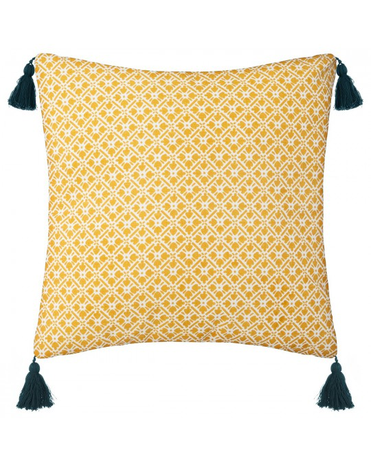 Coussin Flower Power 40x40 cm ocre