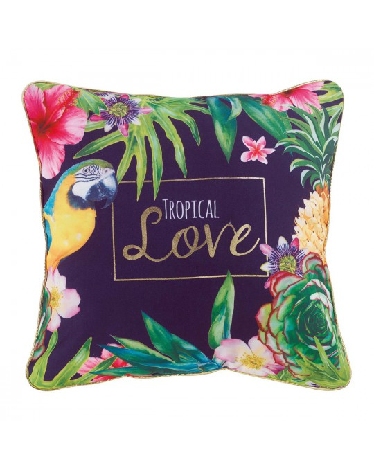 Coussin passepoil 45x45 cm Or Tropical Love prune