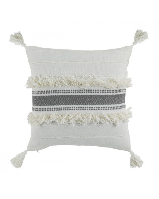 Coussin pompons 40x40 cm Indira anthracite