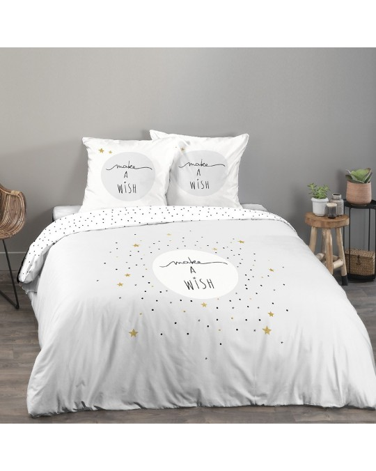 Housse de couette 220x240 Make a wish gris + 2 taies 100% coton 57 fils