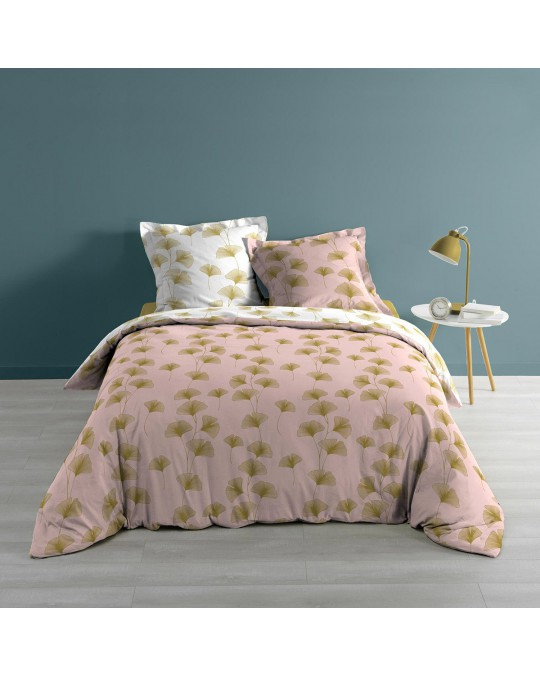 Housse de couette 220x240 + 2 taies Bloomy rose or coton 57 fils