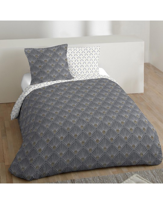 Housse de couette 240x260 Coquille or + 2 taies 100% coton 57 fils