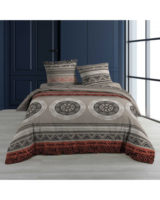 Housse de couette 220x240 Linake taupe + 2 taies 100% coton 57 fils