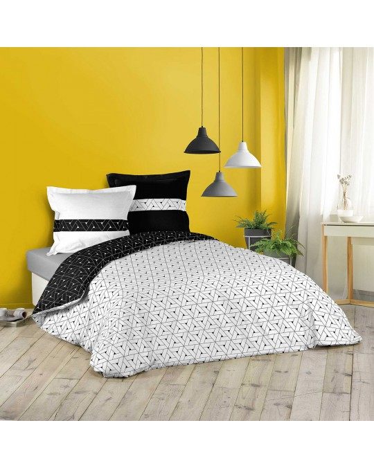 Housse de couette 240x260 Cosmo + 2 taies 100% coton
