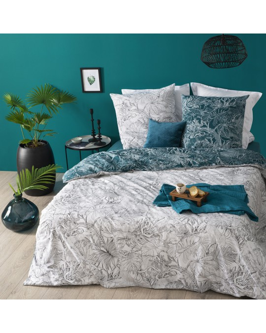Housse de couette 240x260 Jungle + 2 taies 100% coton 57 fils