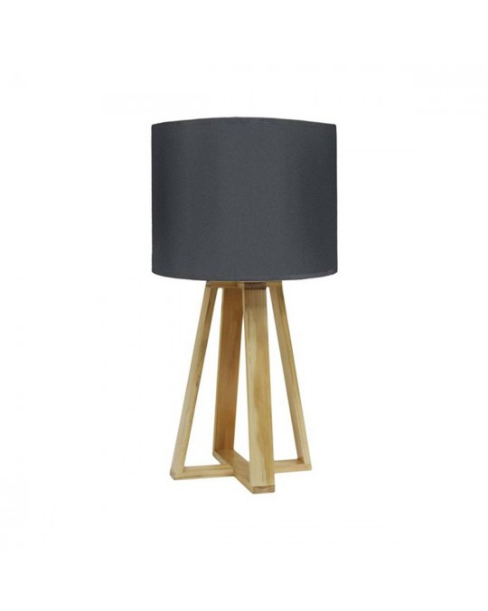 Lampe scandinave pied bois anthracite