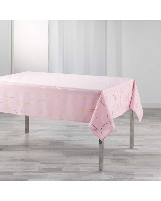 Nappe rectangulaire 150x240 cm métallisé Domea rose or