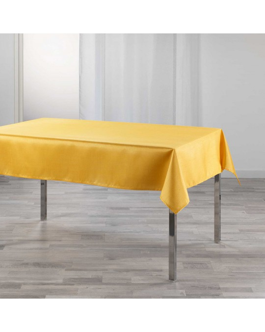 Nappe rectangulaire 150x240 cm effet satin Shana moutarde
