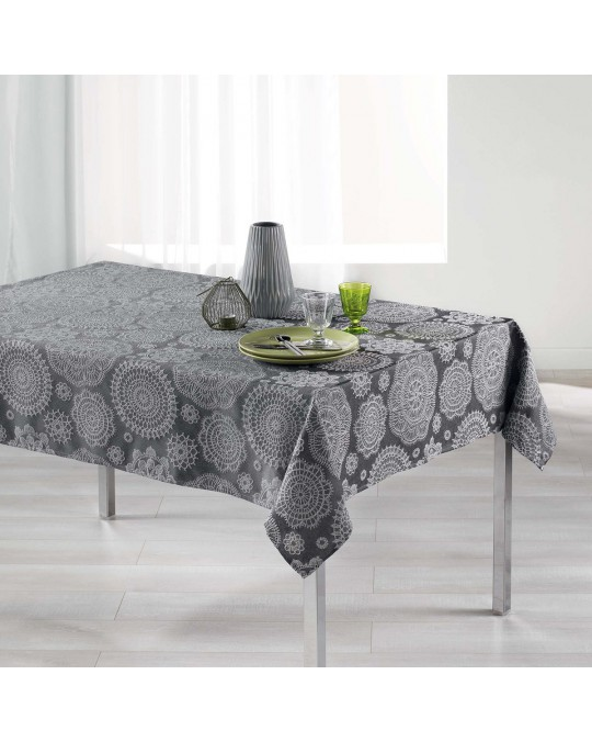 Nappe rectangulaire 150x240 cm Jacquard Rose des vents anthracite