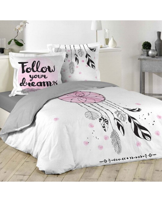 Housse de couette 220x240 100% coton Attrape Songes + 2 taies