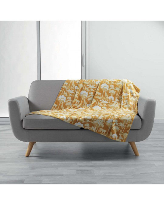Plaid 125x150 cm flanelle Equatoria Jungle jaune