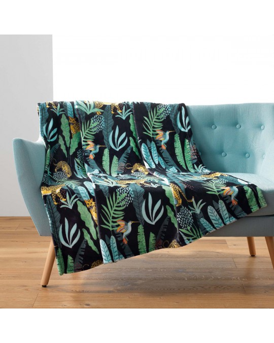 Plaid 125x150 cm flanelle Mystic Jungle