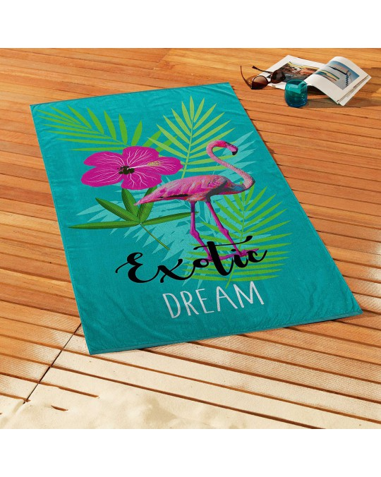 Serviette de plage éponge velours 70x150 cm Exotic Dream coton