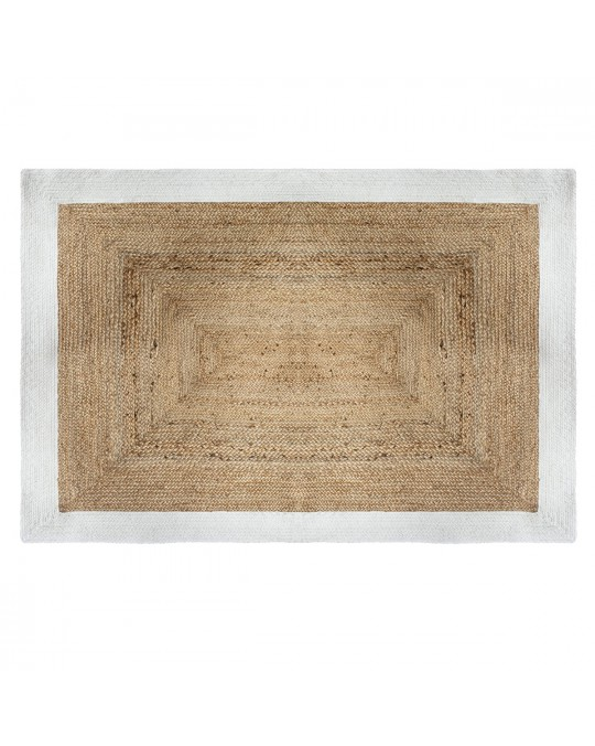 Tapis rectangle en jute 120x170 cm blanc