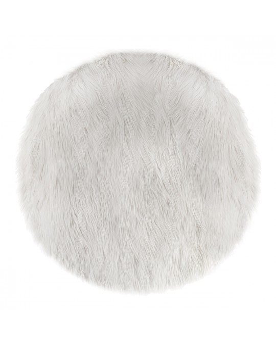 Tapis rond fausse fourrure blanc